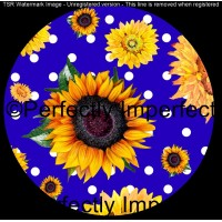 27 blue and sunflower car coaster